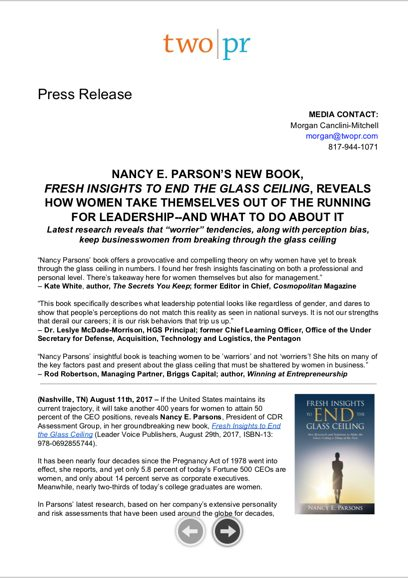 Press Release: NANCY E. PARSON'S NEW BOOK, FRESH INSIGHTS TO END THE GLASS CEILING , REVEALS HOW WOMEN TAKE THEMSELVES OUT OF THE RUNNING FOR LEADERSHIP