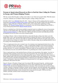 Press Release: Parsons to Speak about Research on How to End the Glass Ceiling for Women in Energy and Women Helping Women