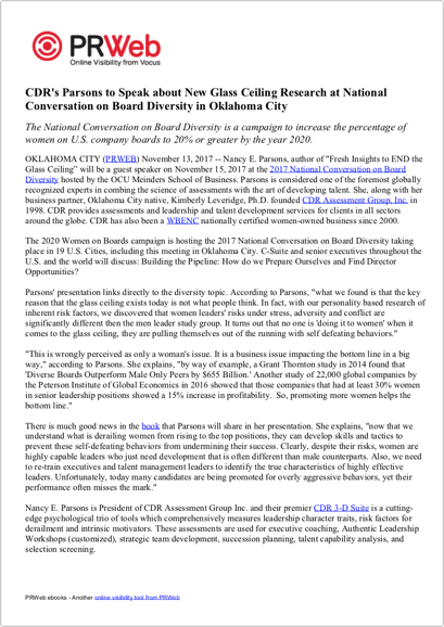 Press Release: CDR's Parsons to Speak about New Glass Ceiling Research at National Conversation on Board Diversity in Oklahoma City