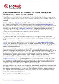 Press Release: CDR Assessment Group, Inc. Announces New Website Showcasing Its President Nancy Parsons as Expert Speaker