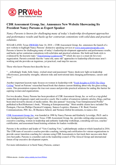 Press Release: CDR Assessment Group, Inc. Announces New Website Showcasing Its President Nancy Parsons as Expert Speaker