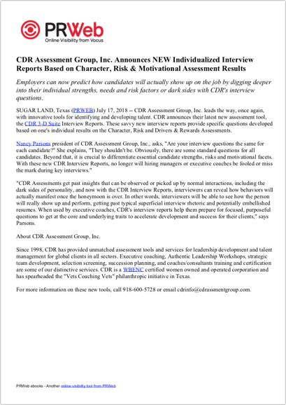 Press Release: CDR Assessment Group Announces NEW Individualized Interview Reports Based on Character, Risk & Motivational Assessment Results