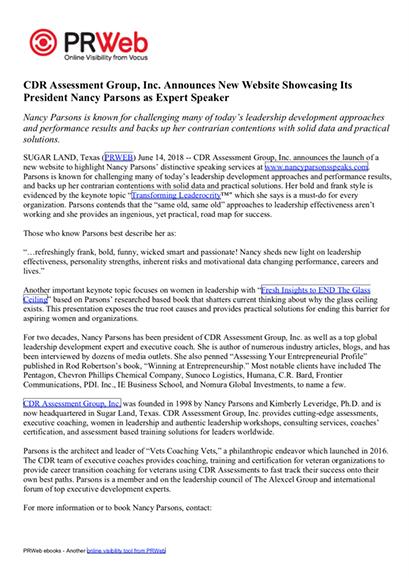 CDR Press Release 06-14-2018