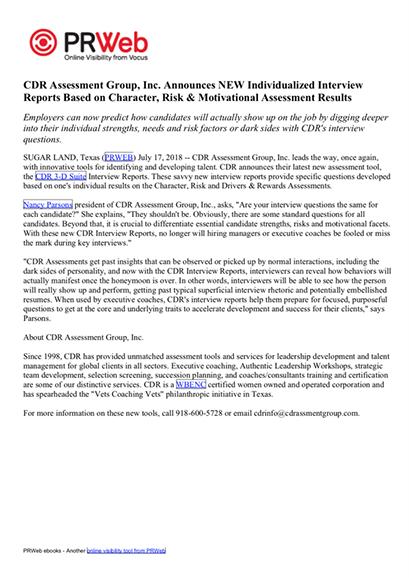CDR Press Release 07-17-19