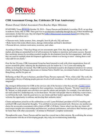 CDR Press Release 10-30-18